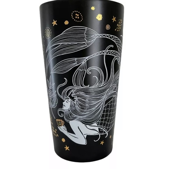 STARBUCKS Black Gold Ceramic Tumbler MERMAID